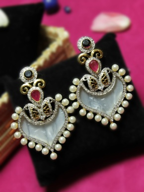 Heart Shaped Pearl Danglers